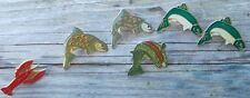 ~ 6 Colorful Enamel/Metal Fish ~ Fishing Hat Pins ~Trout, Lobster ~ Last Set ~