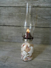 Oil Lamp Mason Jar with Shells Burner and Chimney Cottage Decor
