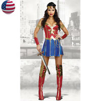 Ladies Superwoman Superhero Supergirl Wonder Woman Fancy Dress Halloween Costume