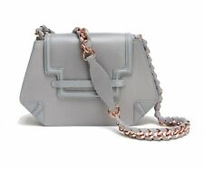 New clutch/shoulder bag in stone grey lizard-effect leather with chain