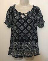 Joie Small 100% SILK Blouse Dark Gray & White Short Sleeve Scoop Neck Boho Top