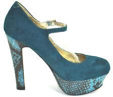 G by GUESS 6 M Women's VARIKA2 Teal Platform Heel Pump Snakeskin design NEW