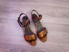 Zara Leopard Print Patent Leather Peep-toe Slingback Wedge Sandals uk 4 us 6