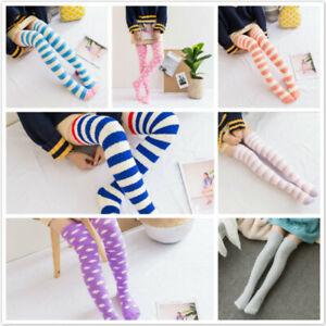 Winter Girl Knee Striped Cute Long Thigh High Socks Compression Warm Stocking SG