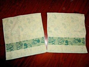 DISNEY MICKY MOUSE GREEN (2PC) SET WASHCLOTHS FACE CLOTHS 12 X 12