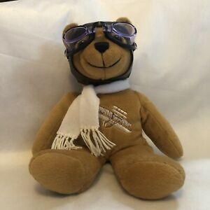 """Plush Bear 13"""" Flying Wright Brothers In the Outer Banks Goggles Vintage"""