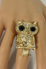 New Women Ring Fashion Gold Metal Big Owl Elastic Band Red Pink Blue Rhinestones