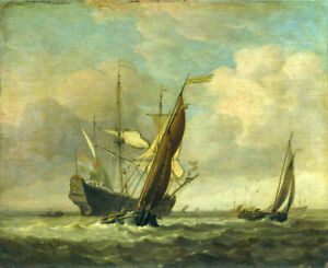 Oil painting Two Small Vessels and a Dutch Man-of-War in a Breeze seascape art