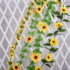 1pcs Artificial Sunflower Garland Silk Flower Vine Wedding Fence Decoration Pop.