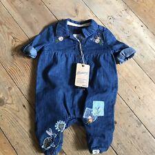Baby Girls Denim Short Romper 0-3 Months bnwt mantaray