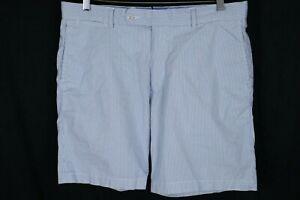 Peter Millar Mens sz 34 Blue White Summer Pinstripe Flat Front Golf Shorts