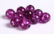 50 Purple Crackle Glass Beads 10mm Jewellery Making Crafts J05642xe