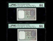 2, 1 Rupee Notes India(1963) ,L K Jha , Pick #76a UNC PMG 64