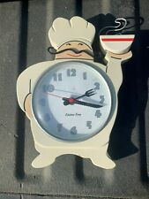 used working Fat Chef Pierre Kitchen King Wall Clock Quartz Mvmt. Mustache Bowl