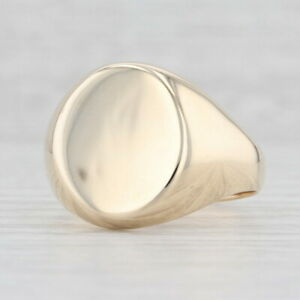 Men's Engravable Signet Ring 10k Yellow Gold Size 13 Oval Face