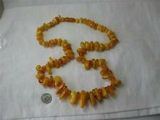 Antique Chinese Baltic Butterscotch Egg Yolk Amber Big Beads Necklace 74 Grams