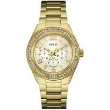 GUESS Ladies Watch Luna Gold Tone Crystal Glitz Chrono U0729l2 W0729L2
