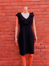 CUE ~ 12 ~ Chic Black Pinstripe Ruffle Frill Corporate Career Sheath Dress $285
