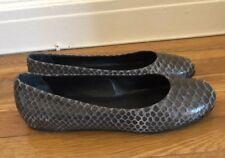 Devi Kroell Gray Python Round Toe Flats - Size 40