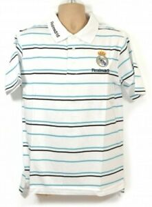 REAL MADRID SHIRT POLO SHIRT WHITE STRIPE MEDIUM MENS 100% OFFICIAL PRODUCT
