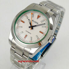 40mm bliger white dial 316L solid case sapphire glass automatic mens watch B174
