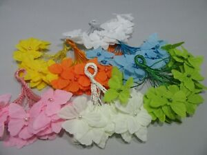 12 x 30mm Coloured Decorative Cord Butterflies Embelishments with Pearl Centre