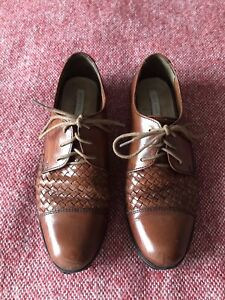 Cole Haan Vintage Style Brown Woven Leather Oxfords Brogues UK 3 EU 36