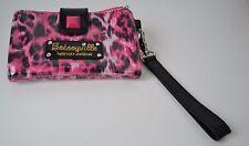 Betsey Johnson, Betseyville, Animal Print, Wristlet, Pink/Black/White, Removable
