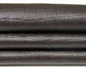 BROWN CROCODILE EMBOSSED thick Italian Lambskin leather skin 7sqf 1.5mm #A4540