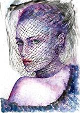 Fashion Women face painting original watercolor woman erotic art