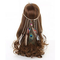 Boho Indian Peacock Feather Headband Hairband Carnival Weave Native Party