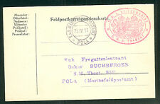 1917, Hungary Naval card, ship 'TRABANT' red oval cxl