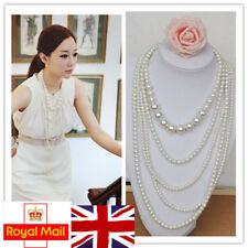 Charm Women Retro Multi-layer Pearl Necklace Pendant Long Sweater Chain UK