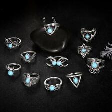 11Pcs/Set Vintage Women Bohemia Turquoise Stone Knuckle Joint Rings Gift Utility