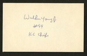 Wilbur Young d.2014 signed autograph 3x5 card Kansas Chiefs Football Player F252