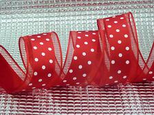Red Polka Dot Sheer Border Wired Edged Ribbon Decorations Bows 1m