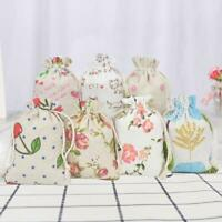 10 Hessian Drawstring Gift Bags Fabric Linen Christmas Pouch Wedding Favours a a