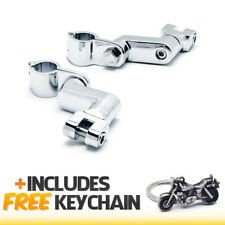 "Chrome 1"" Engine Guard Bowleg Footpeg Foot Rest Clamps+Cruiser Keychain"