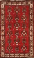 Geometric Semi Antique Balouch Hand-knotted Area Rug Wool Oriental Carpet 4x7 ft