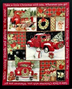 Red Truck Collage Panel 20045  100%  Cotton Fabric