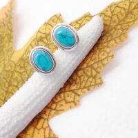 Mohave Türkis oval blau Design Ohrringe Ohrstecker 925 Sterling Silber neu