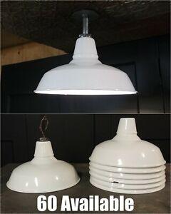 "VTG Benjamin Porcelain Enamel Barn Light Fixture Industrial Gas Station 14"""