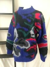 Classiques Nordstrom Mohair Fuzzy Sweater Abstract Art to Wear Wearable Art Sz L