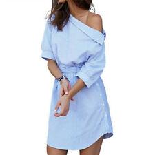 Women One Shoulder Striped Shirt Dress Side Split Half Sleeve Beach Jx XXL