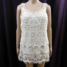 Valerie Bertinelli Sleeveless Blouse Tank Cami Ivory Cream Crochet Doily Lace L