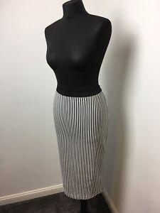 Pencil Skirt X2 1 Balck + 1 Black & White Stripe Stretchy Midi Skirt Size 14