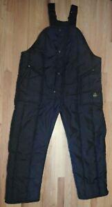 VTG RefrigiWear Black Insulated Bib Overall Zip Snap Front Leg Elastic Straps XL