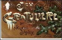 NEUJAHR 1903 Glück Neues Jahr Prägekarte Präge-AK ab Hannover nach Eschede gel.