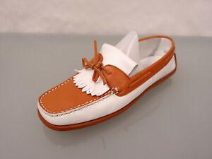 TOD´S Leder Mokassins Gr.40,5 Ballerina Loafer Slipper Schuhe Flats Orange Weiß