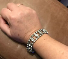 Vintage Retro Sparkly Party Bracelet Rhinestone Glass Gems Faux Diamond Xmas